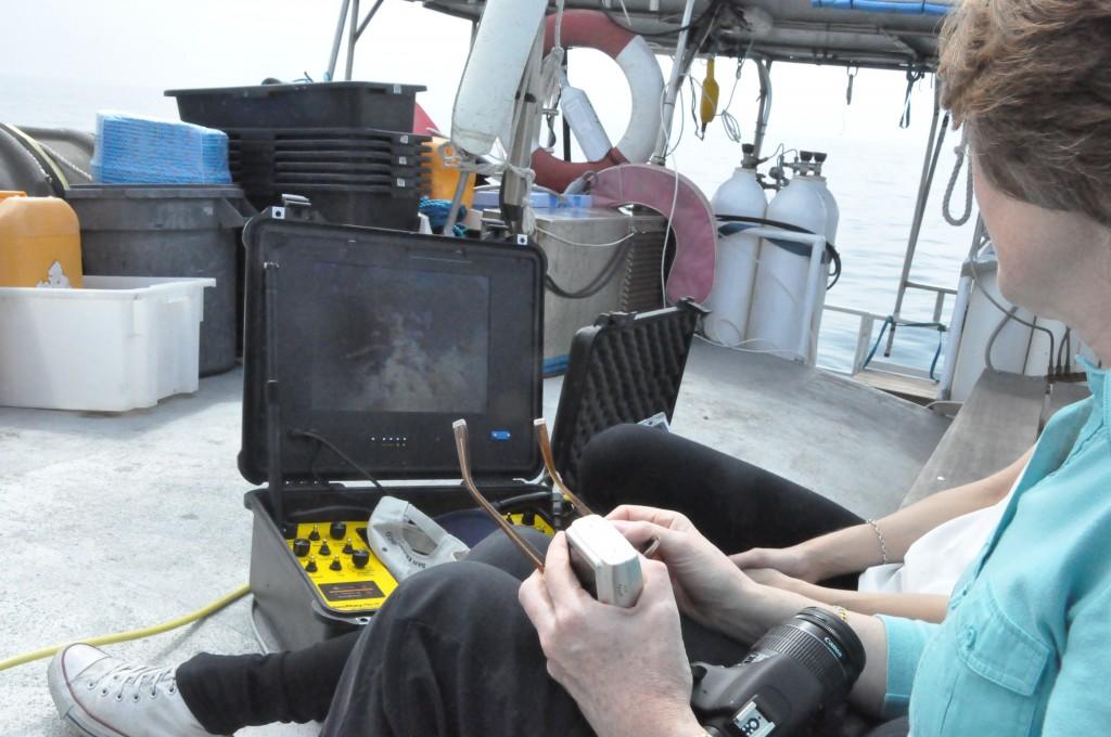 Lynn studerar bilder från en ROV